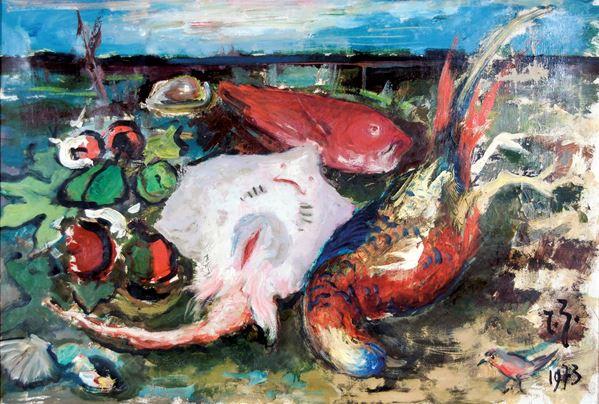 RENZO ZANUTTO - Natura morta con pesci 1973