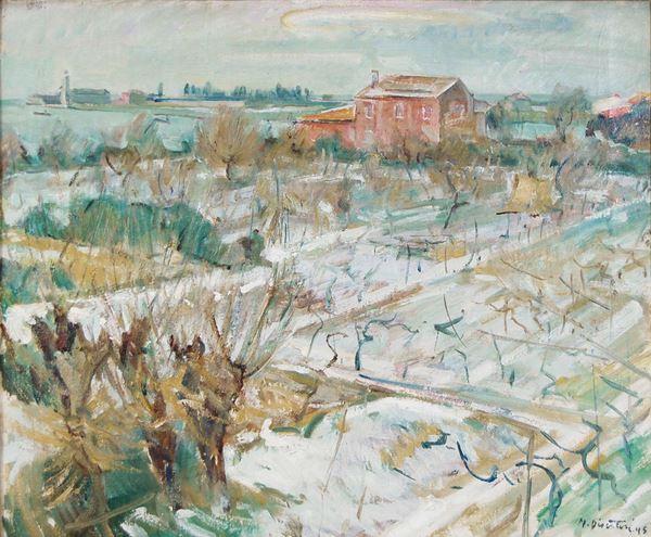 MARIO DISERTORI - Paesaggio lagunare con neve 1945