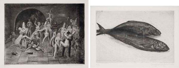 LINO BIANCHI BARRIVIERA - Allegoria 1945 - Nartura morta con pesci 1944